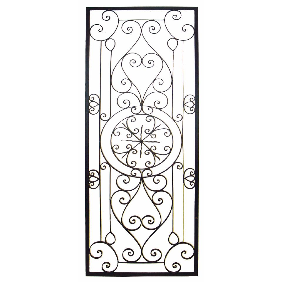 Black Wrought Iron Wall Decor This Tuscan 64'' Large Rectangular Wrought Iron Wall Grille Plaque