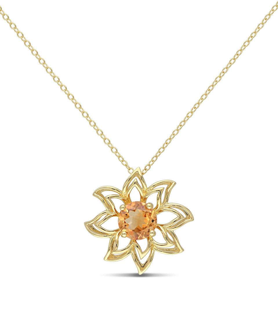 Love this citrine u goldtone flower pendant necklace by delmar on