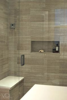 Wood Grain Tile In The Shower With Images Bathroom
