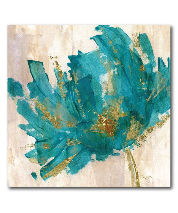 Teal Flower Contemporary Wrapped Canvas Flower Canvas Art Canvas Art Prints Art Painting