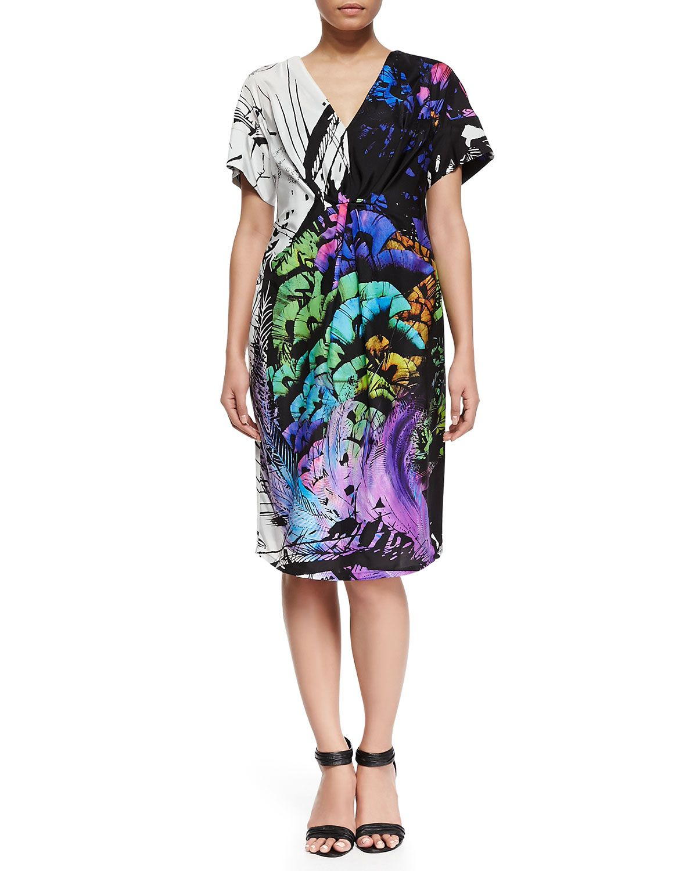 Marina rinaldi eiffel printed shortsleeve dress plus size