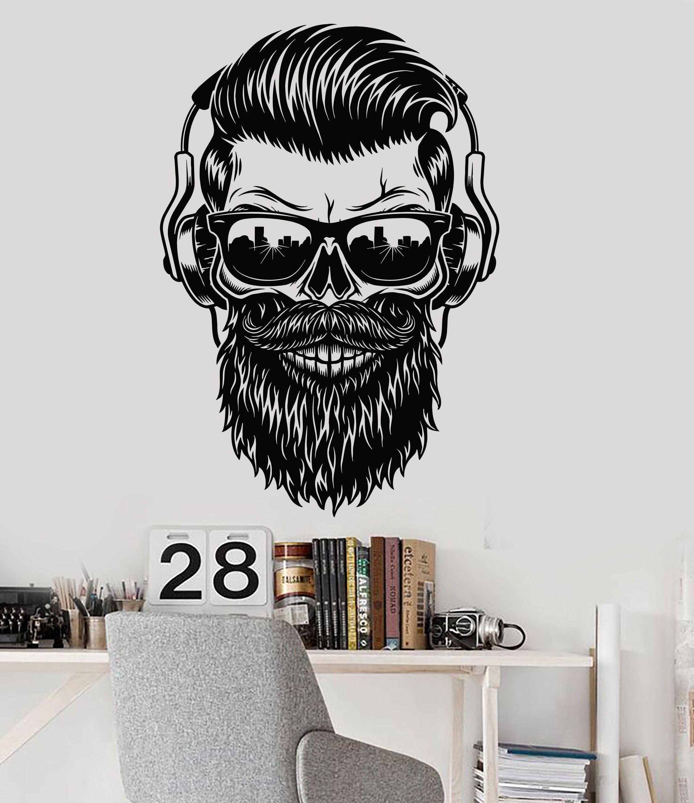 Vinyl wall decal hipster skull sunglasses musical headphones stickers 1447ig vinyl wall decal hipster