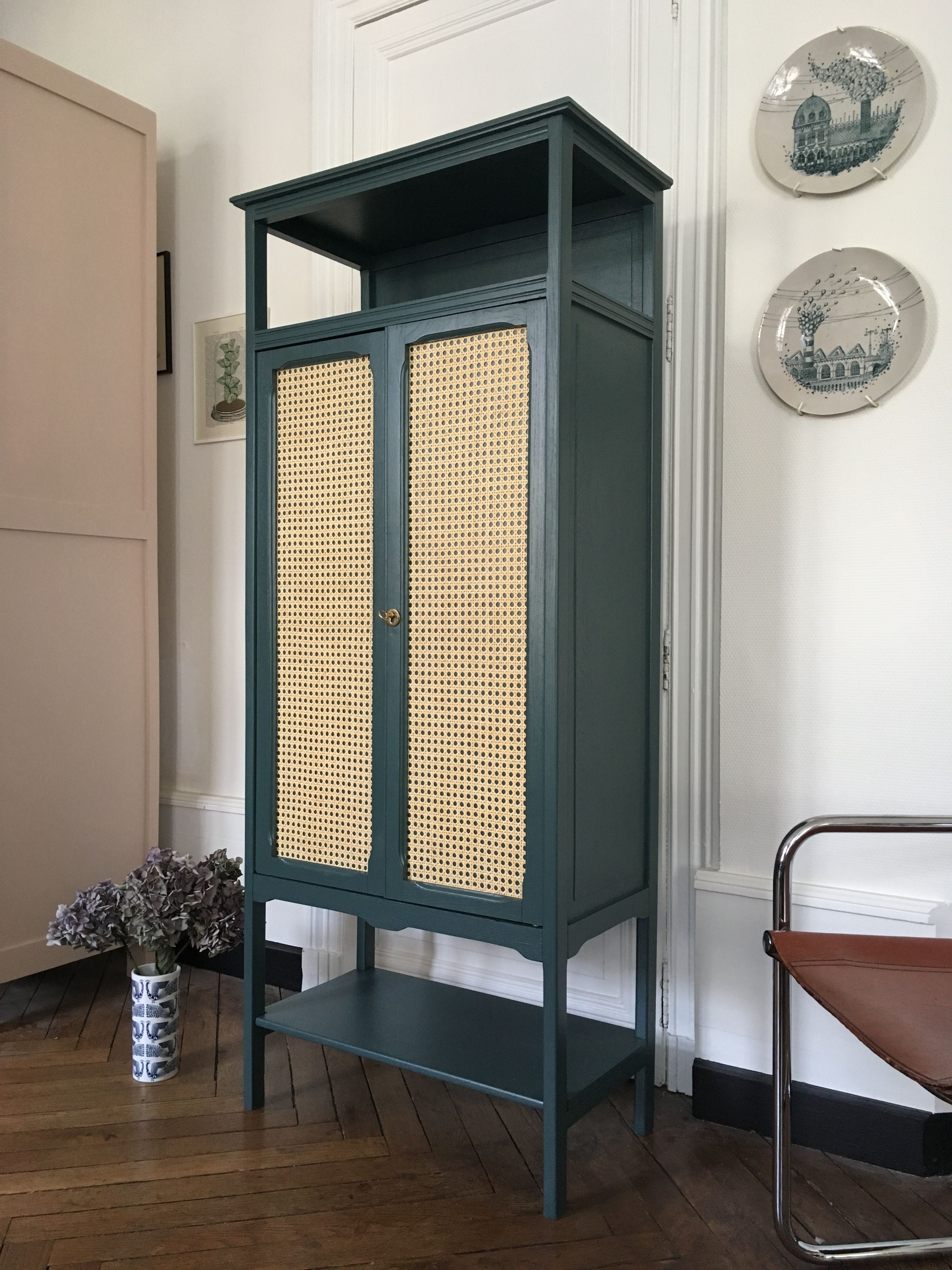 Armoire Cannage Bleu Vert Meubles Vintage Nantes Armoire Rangement Mobilier De Salon Meuble Vintage