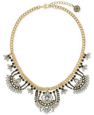 Bcbgeneration Gold Tone Jet And Clear Crystal Drama