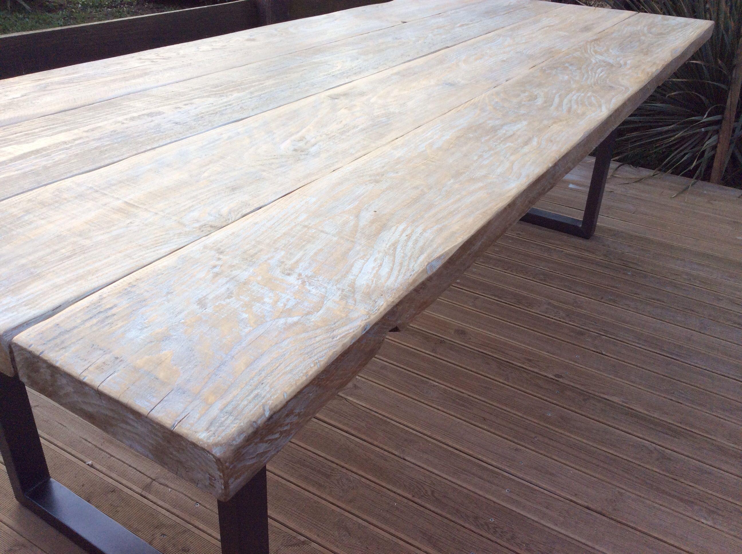 Commande sur mesure plateau bois c rus blanc l ger sur pieds acier en u section rectangle - Ceruser un meuble en pin ...