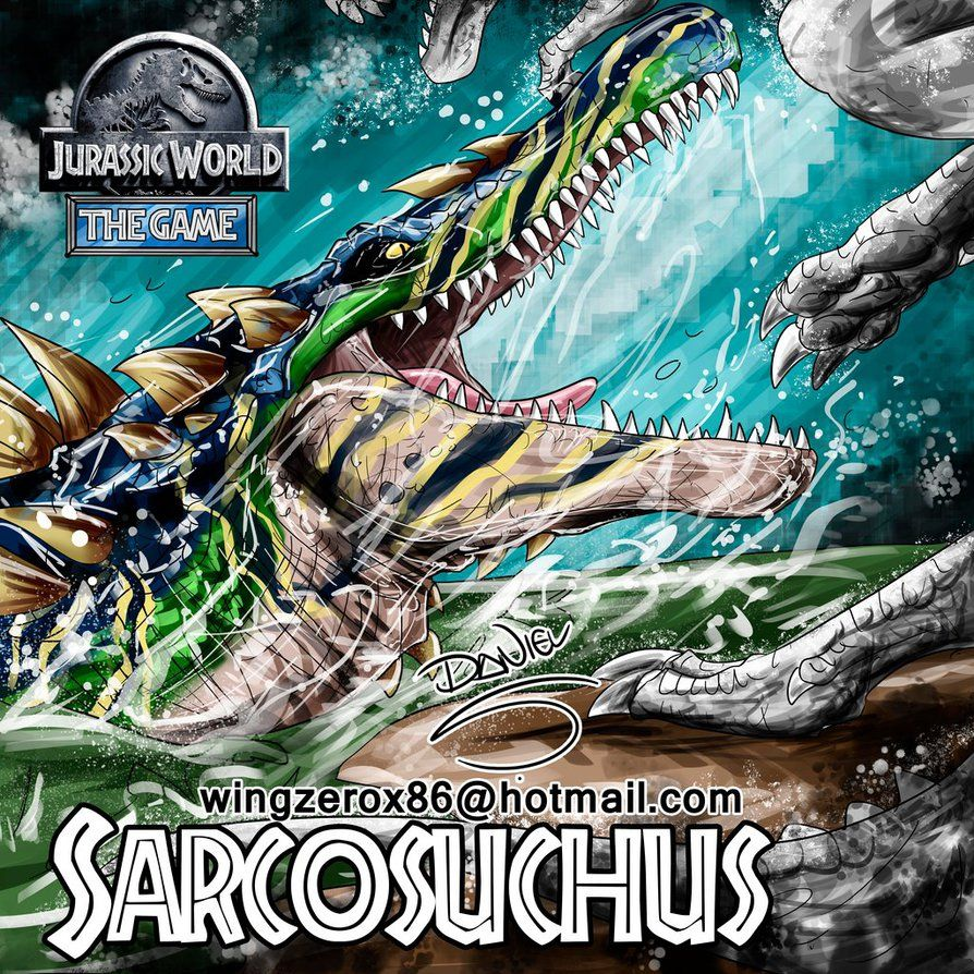 Jurassic park card 3 by chicagocubsfan24 on deviantart - Sarcosuchus By Wingzerox86 On Deviantart Jurassic Park