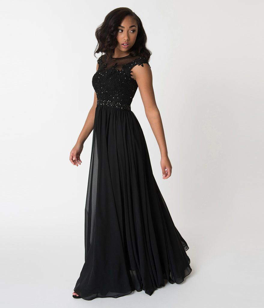 Black embellished lace chiffon cap sleeve prom gown