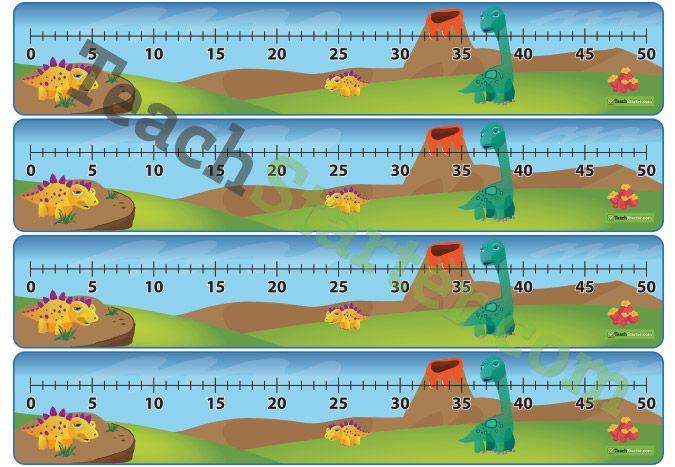Number Line - 5\u0027s to 50 - Dinosaur Maths Teaching Resources