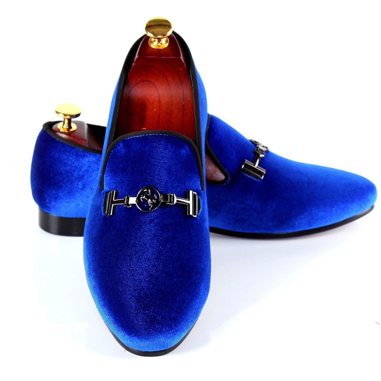 Men Shoes Brand Blue Velvet Loafers Blue dress shoes