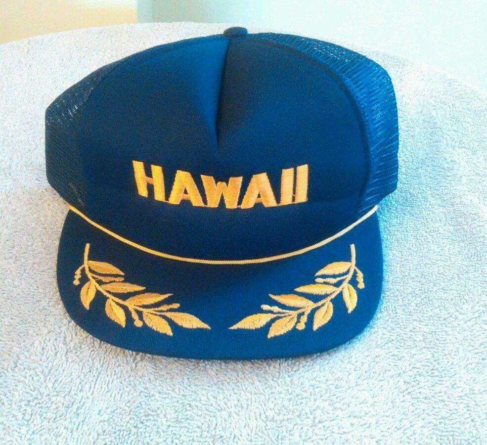 5c146162195 HAWAII Snapback Navy Blue Rope and Gold Leaf trucker style ...