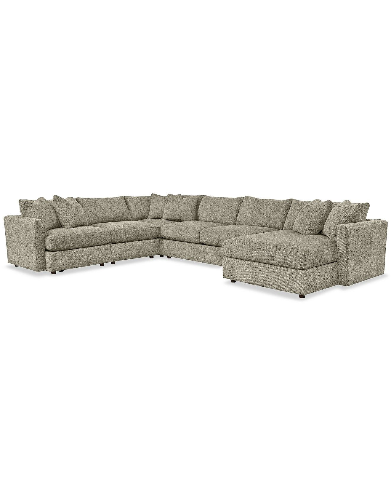 Clinton fabric 5 piece chaise sectional custom colors sectional sofas furniture macys