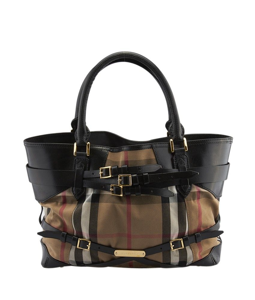 Burberry Bridle Lynher House Check Canvas & Leather Tote