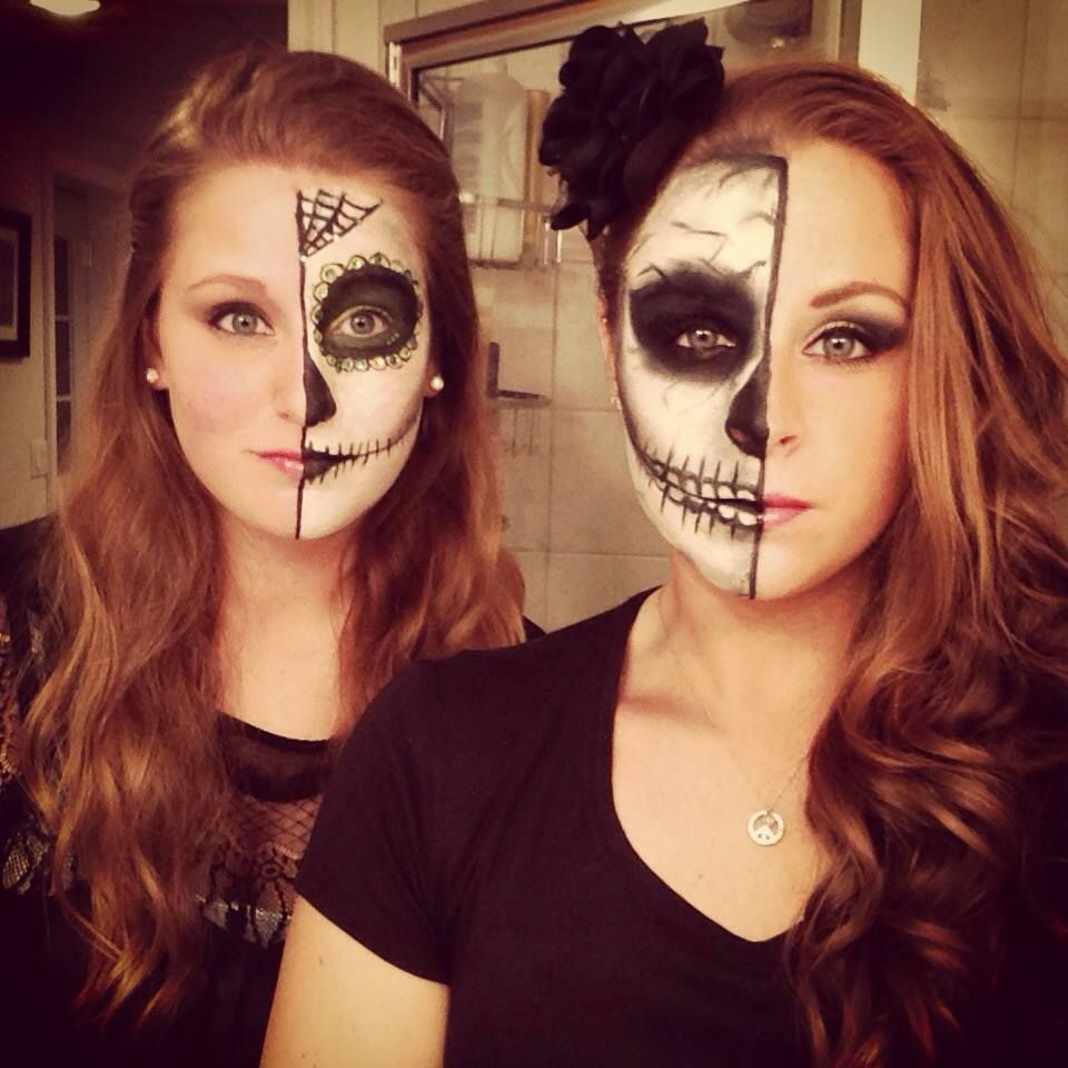 Me and y best friends half Skull/face makeup and Half Sugar skull ...