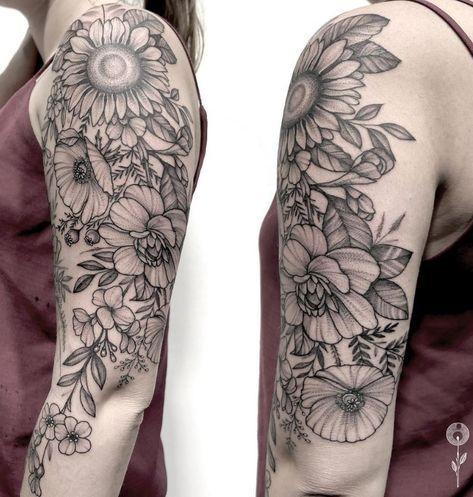 60+ Black & Gray Flower Tattoos by Anna Bravo - List Inspire