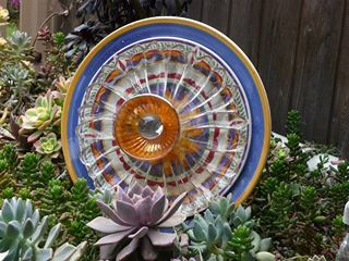 DJ's Drought Resistant Plate Flowers. #124.    Garden Yard Art glass and ceramic plate flower