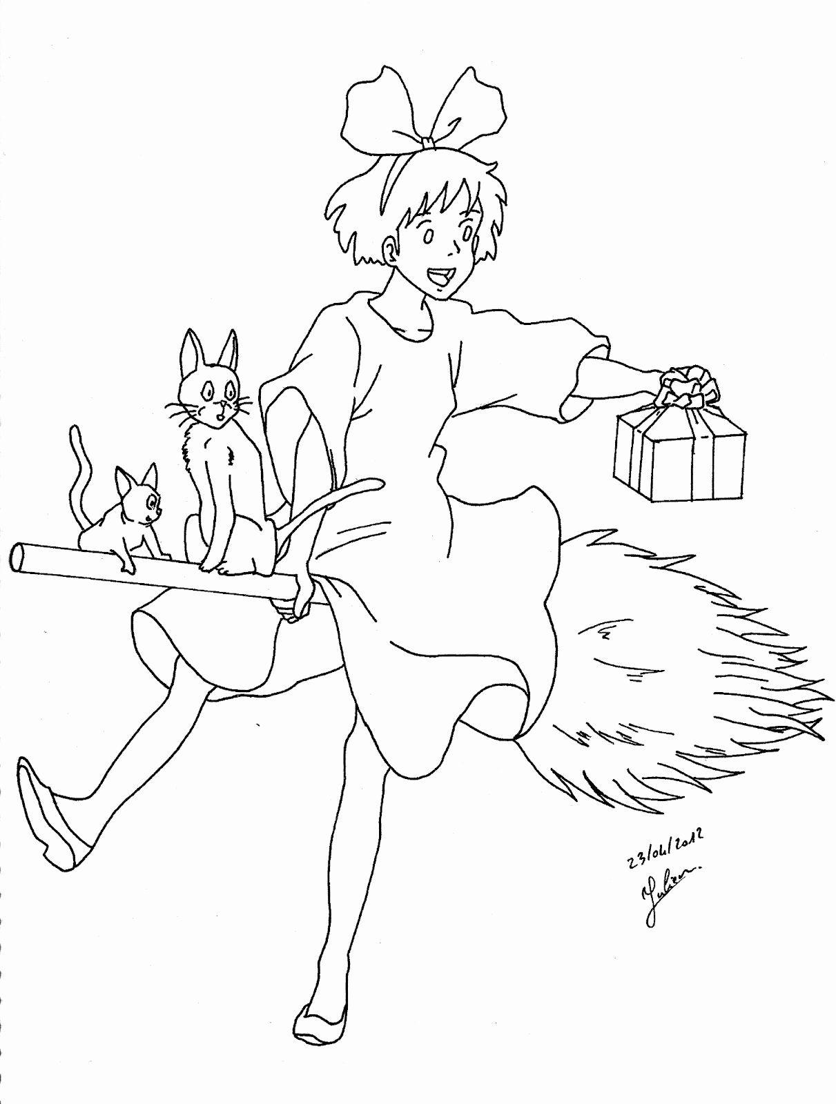 Studio Ghibli Coloring Book Beautiful Kiki La Petite Sorciere Sur Son Balai Ghibli Art Studio Ghibli Art Anime Crafts