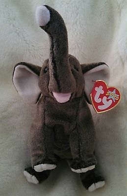 TY Beanie Baby Babies Trumpet Elephant Retired Stuffed Plush Toy NEW PE  Pellets 62a4040850a