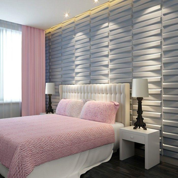 ... Jolie Chambre à Coucher Gris Rose Avec Mur En Panneau Gris ...