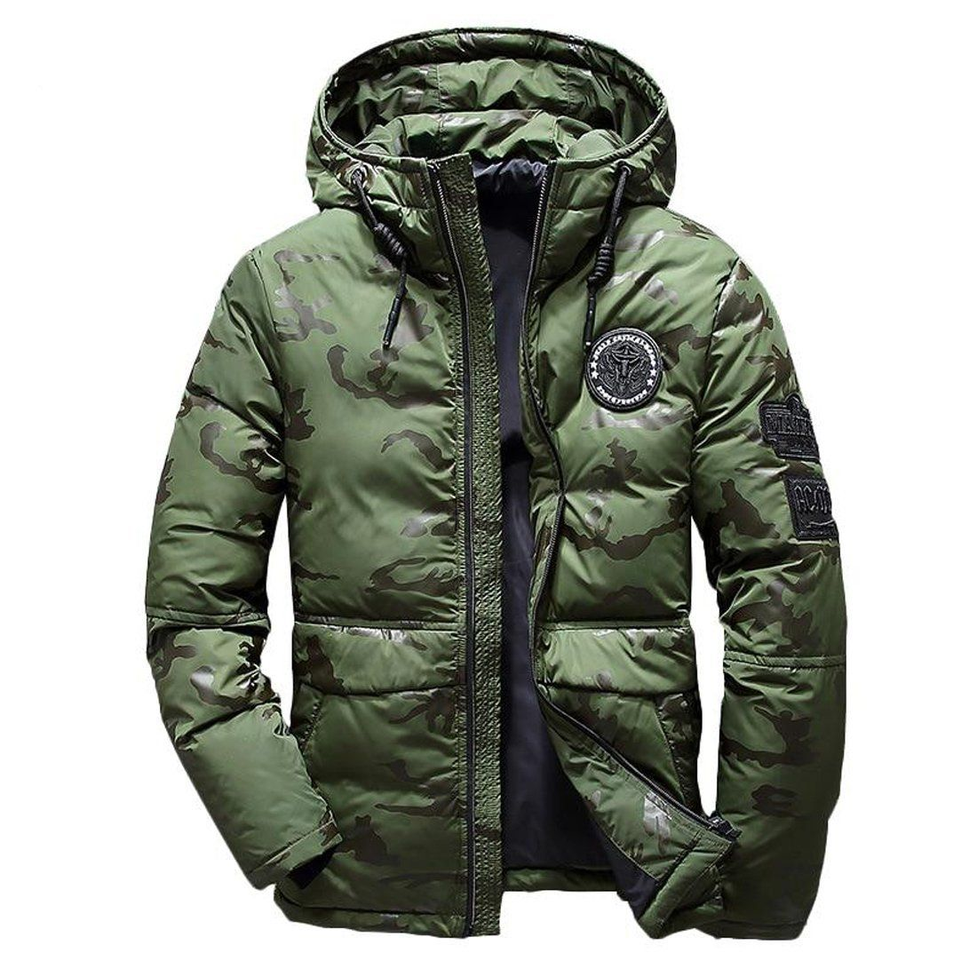 Men's Jacket Hooded Feather Camouflage Thick Ultralight
