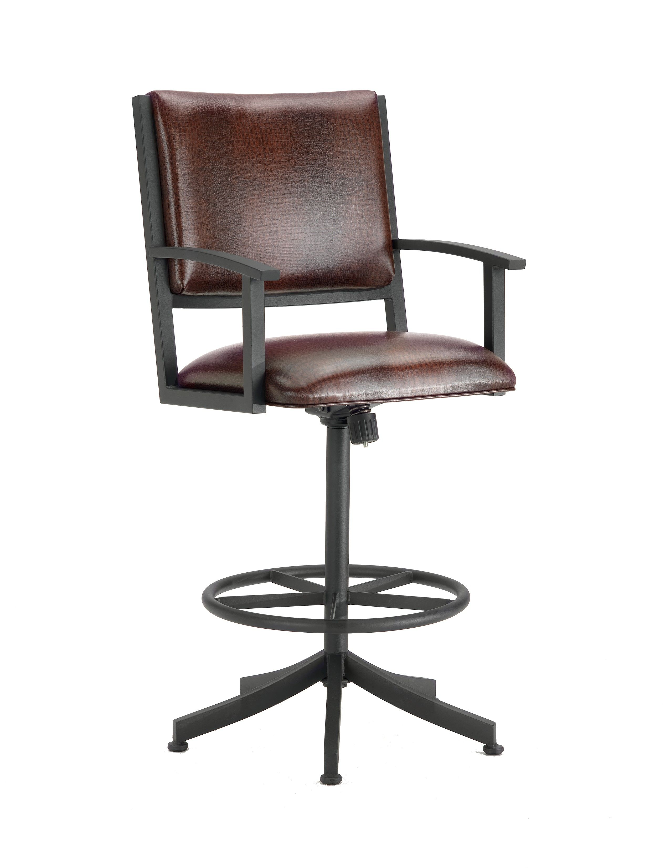 Executive Alligator Brown Seat Tilt Swivel Counter Stool With Black Finish With Images Swivel Bar Stools Swivel Counter Stools Counter Height Stools