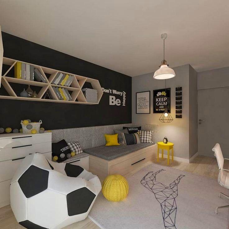 Pin By Svitlana Ferentsy On Cameretta Teenage Room Boy Bedroom Design Soccer Themed Bedroom