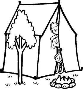 Family In Tent Coloring Page Kaboose Com Camping Coloring