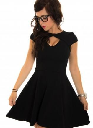 Black Long Sleeve Skater Dress with Scoop Bow Back | Sleeve, Dress ...