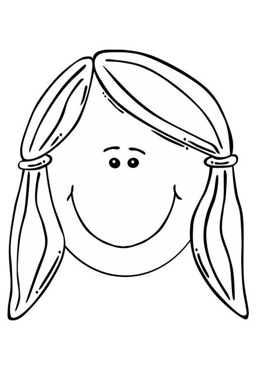 Dibujo para colorear cara de niña | imágenes inglés | Coloring