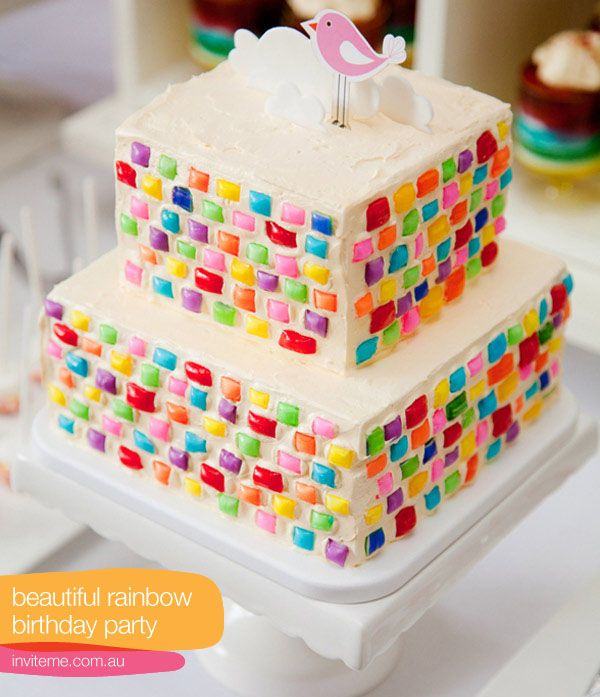Chiclets For A Mosaic Look On Cake 3