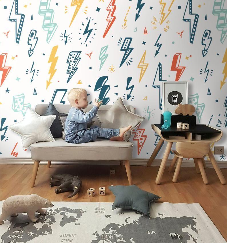 Nursery Wallpaper Self Adhesive Peel And Stick Lightning Bolt Etsy Nursery Wallpaper Kids Room Murals Nursery Room Decor