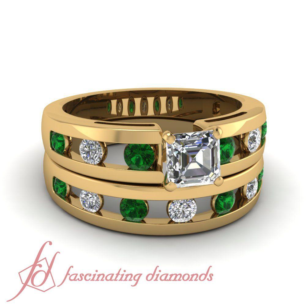 Hollow Out Set || Asscher Cut Diamond Wedding Sets With Green Emerald In 14K Yellow Gold.  #asschercutrings #weddingdiamondring #greenemeraldengagementrings
