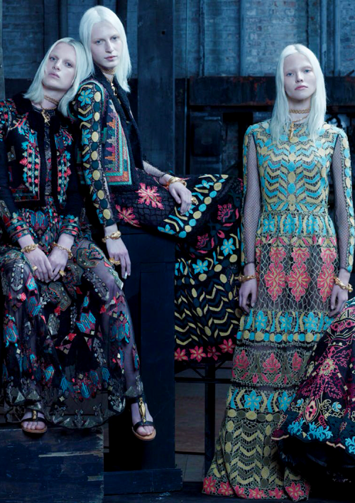 """Ashleigh Good, Julia Nobis, & Sasha Luss (wears Valentino) in """"The Collections"""" for Vogue Italia January 2014, ph. by..."""