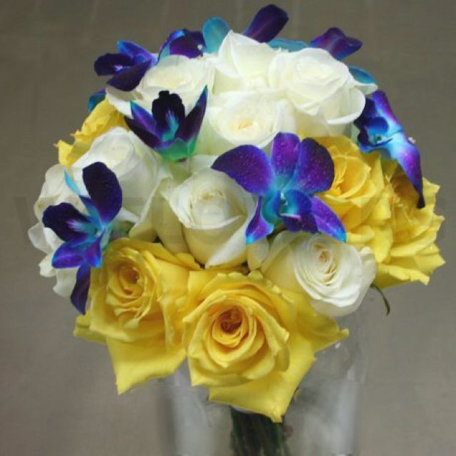 Yellow & white roses with Blue orchid bouquet | WEDDING | DESIGN ...