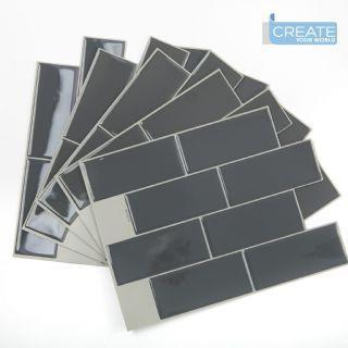 21cm X 28cm Large Metro Tile Grey 3d Epoxy Tile Stickers