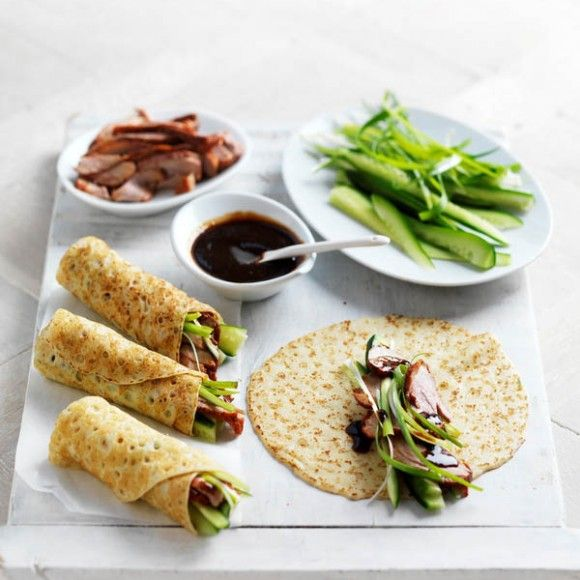 Peking Duck Crepe Wraps Pancakes With Cuber And Green Onion Roasted Duck And Hoisin Sauce