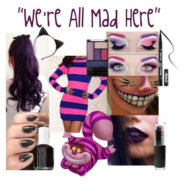 """""""Cheshire Cat Costume"""" by girl-on-fire-77 ❤ liked on Polyvore featuring Kat Von D, Essie, Halloween, aliceinwonderland, cat, Costume and cheshire"""