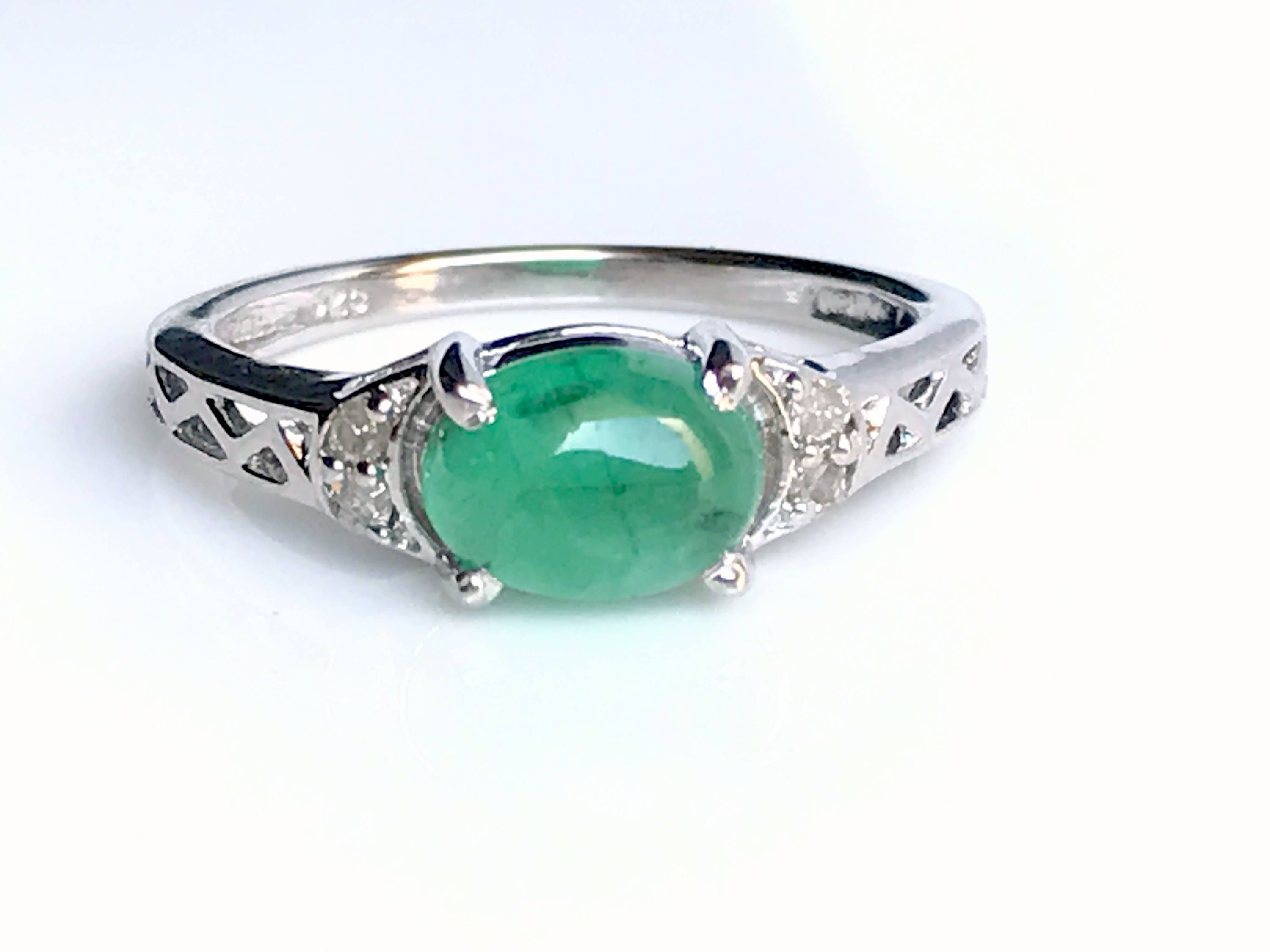 quartz danique birthstone oval ring products set emerald may bezel