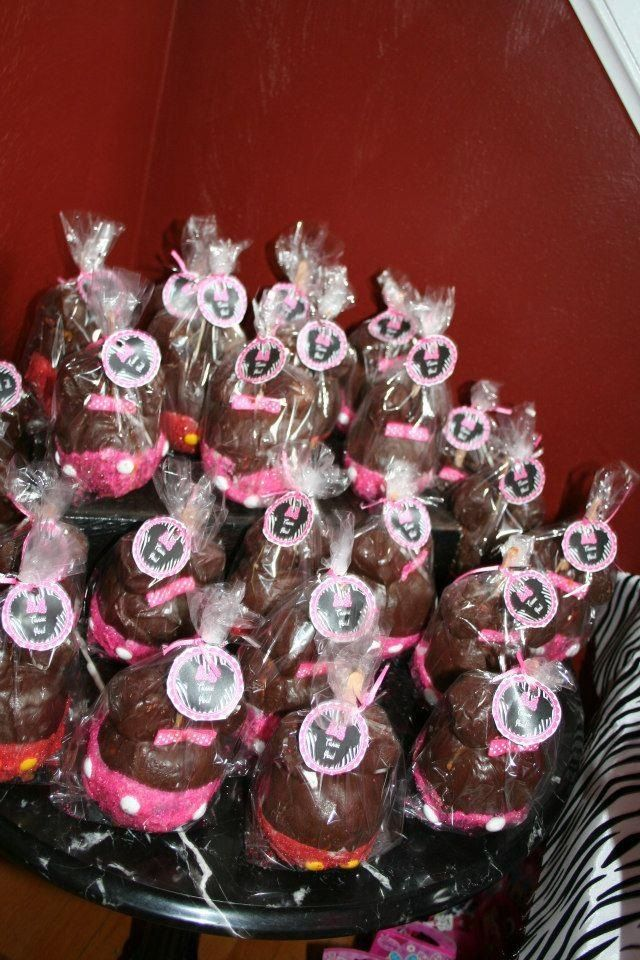 Minnie mouse and zebra 1st Birthdaycandy apple party favors for the