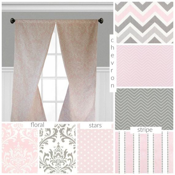 Baby Pink And Gray Curtains Nursery Childrens Curtain Panels Etsy Pink And Grey Curtains Grey Curtains Childrens Curtains