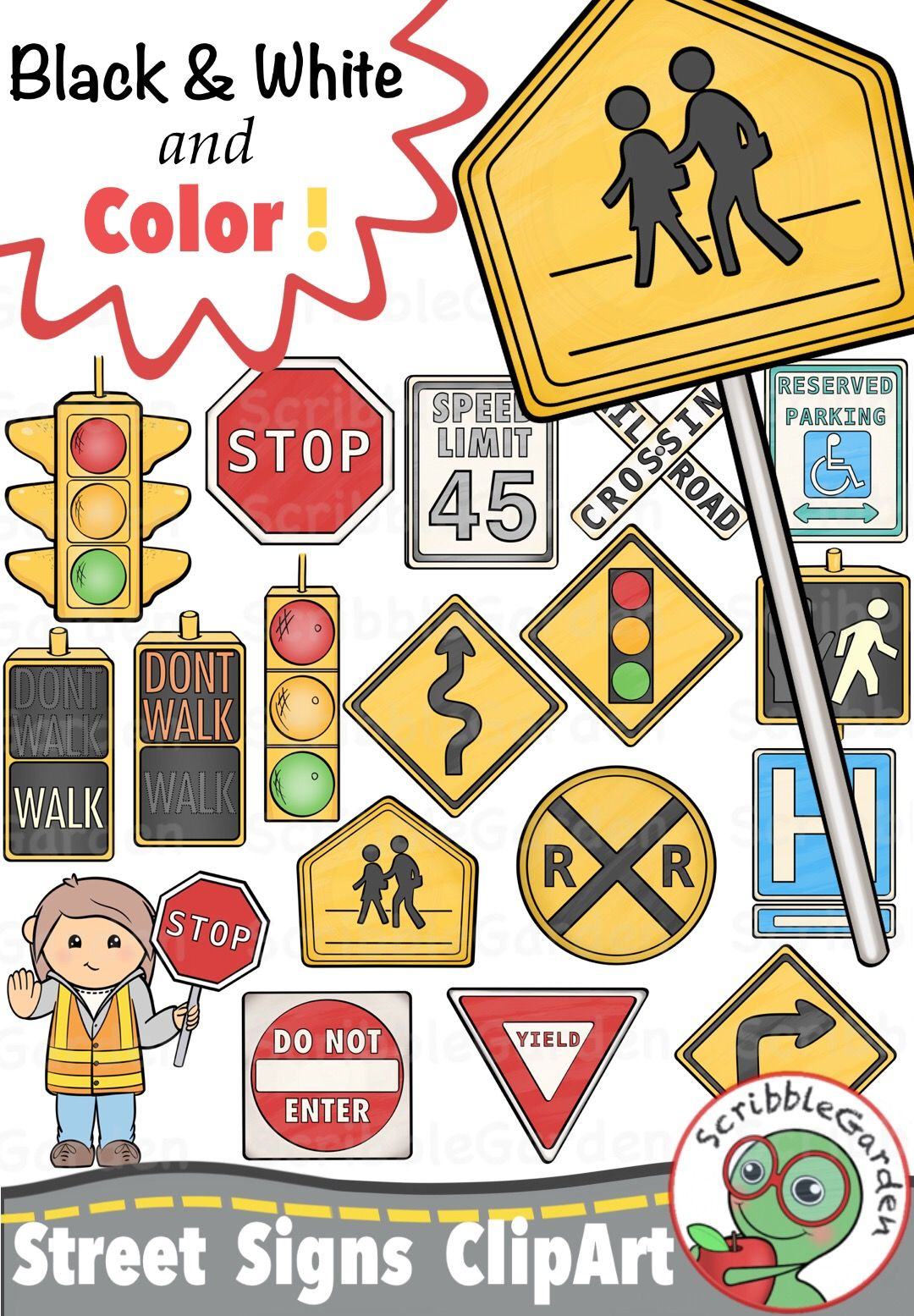 Road safety street signs clipart safety road safetystreet signs clipart pack by scribblegarden biocorpaavc Choice Image