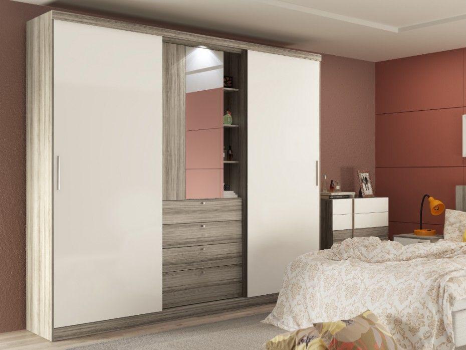 Armoire BODIL Portes Coulissantes Miroir Et Tiroirs Lcm - Porte placard coulissante avec serrurier 75015