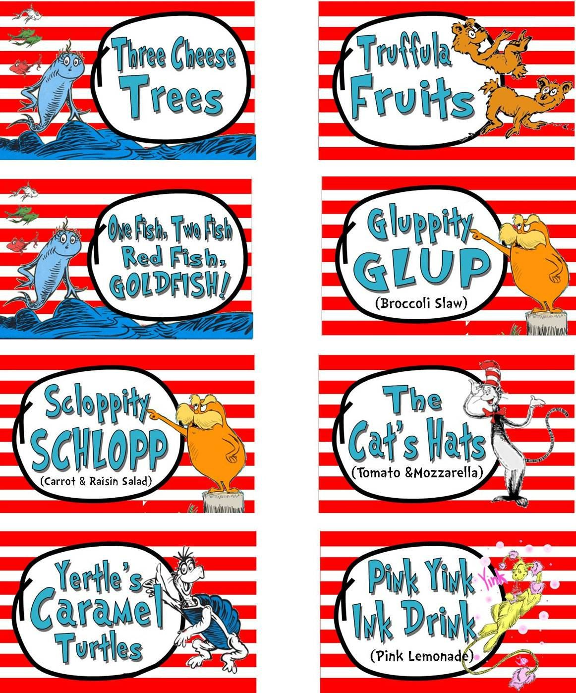 Dr Suess Cat In The Hat Party Food Labels Printable By Partymyway 12 00