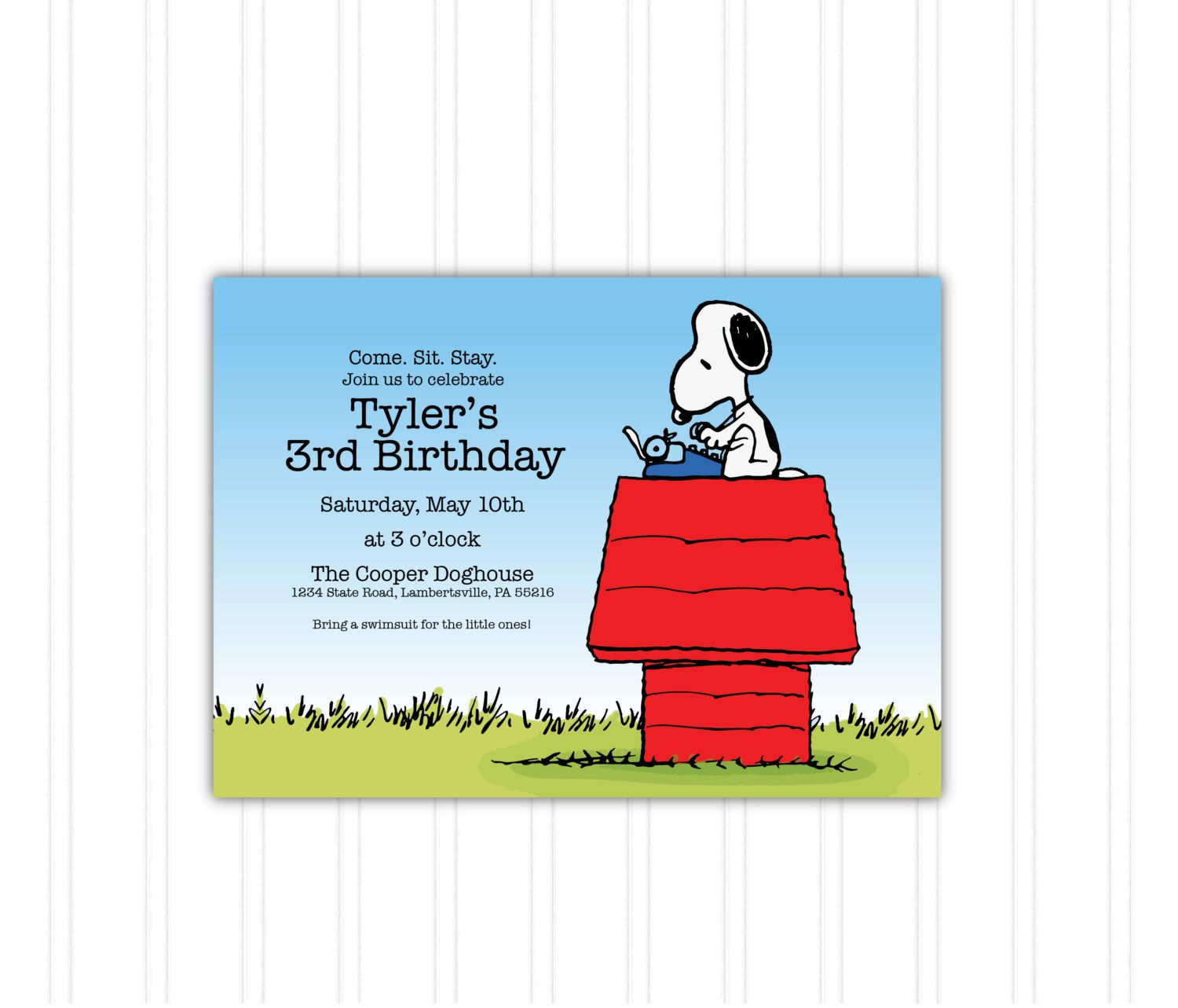 Snoopy Doghouse Peanuts Birthday Invitation by KatzzmcdDesigns – Snoopy Party Invitations