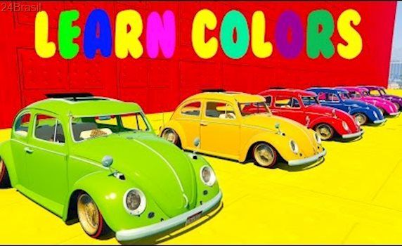 Learn Colors With Volkswagen Beetle Cars And SuperHeroes Extreme Jump Spiderman Cartoon For Kids