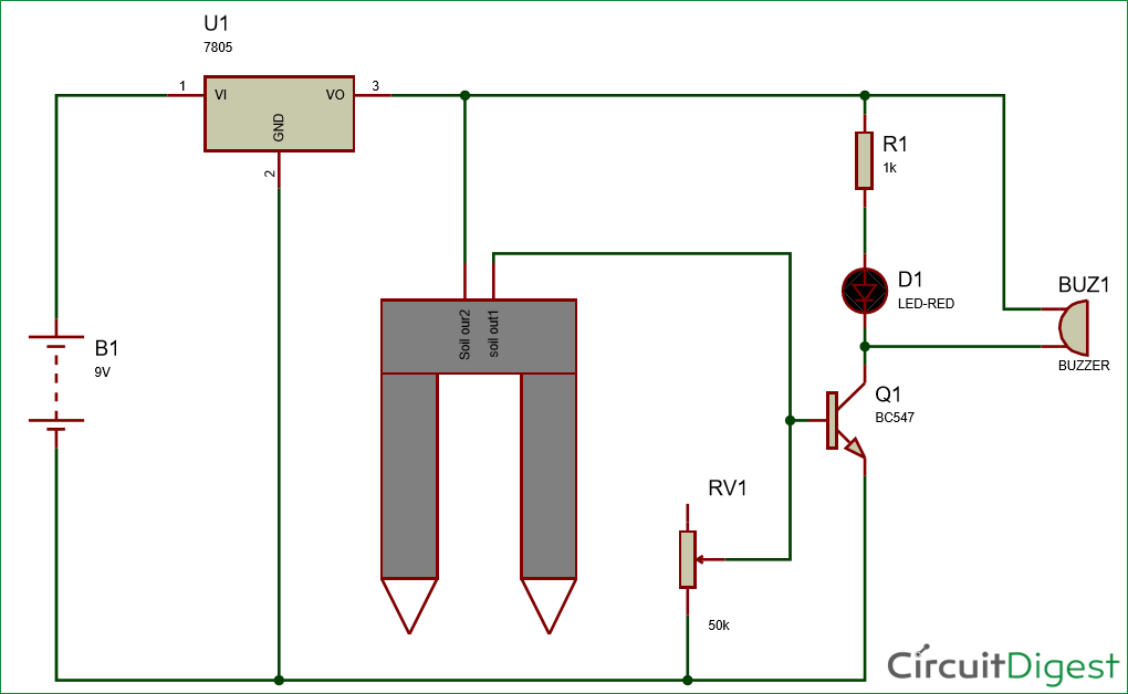 Simple Soil Moisture Detector Circuit diagram | Electronic