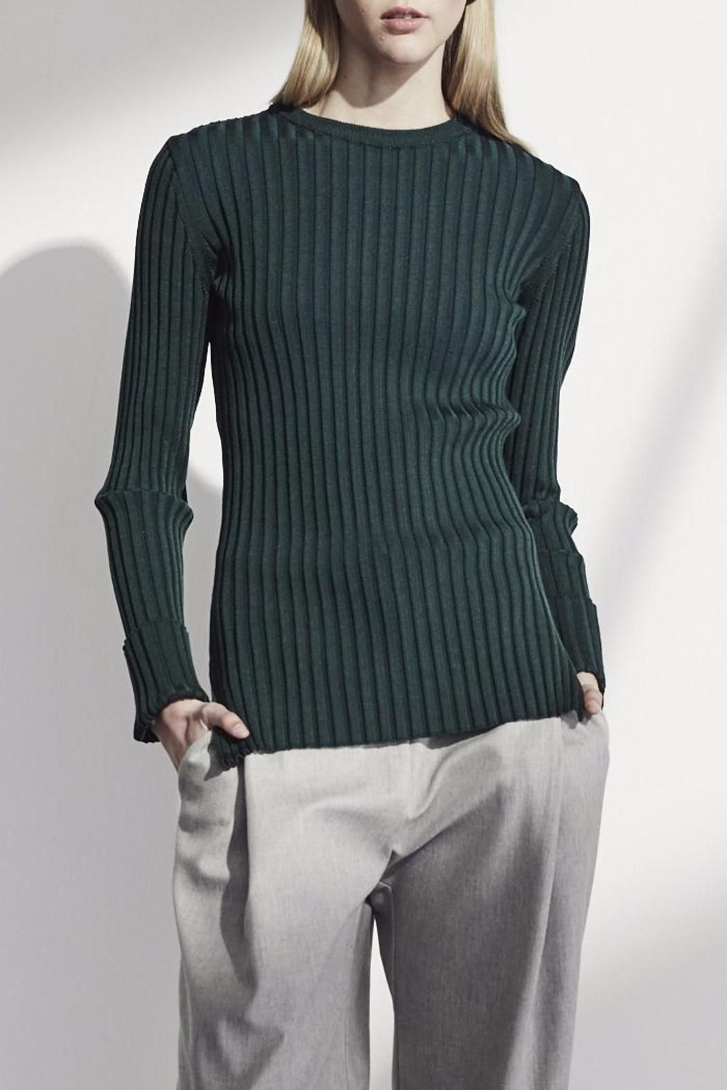 Achro Green Ribbed Sweater | Scoop neck, Sleeve and Long sleeve