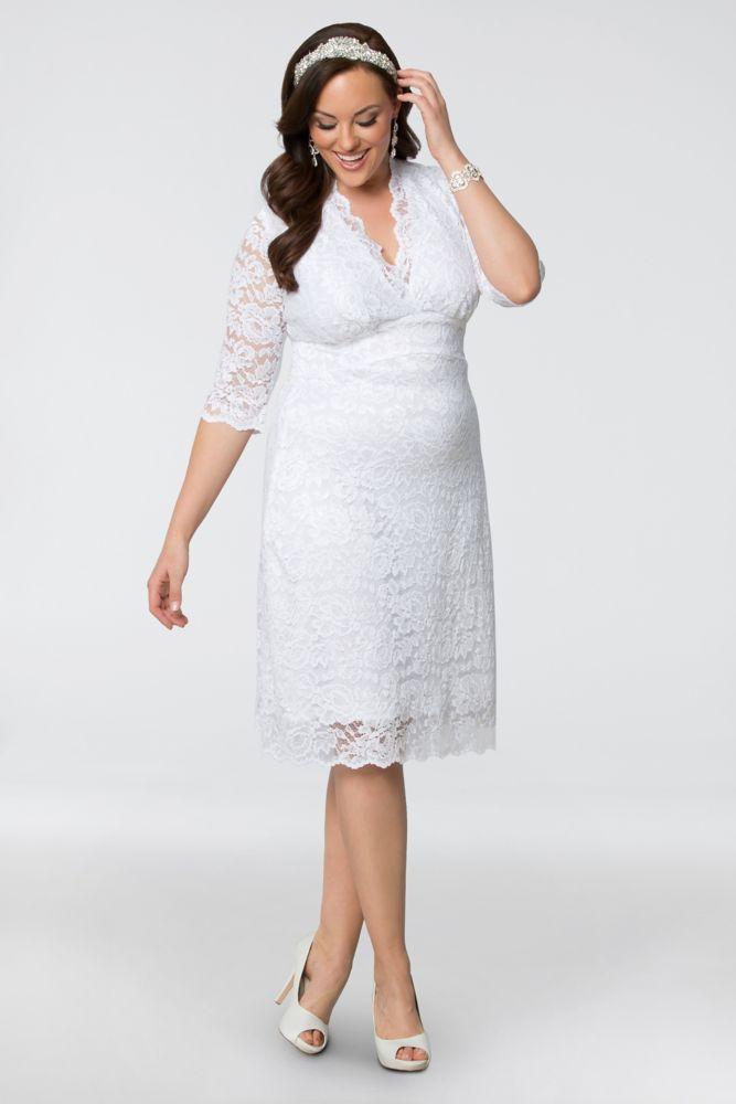 Nylon Luxe Lace Plus Size Short Wedding Dress - White, 1X