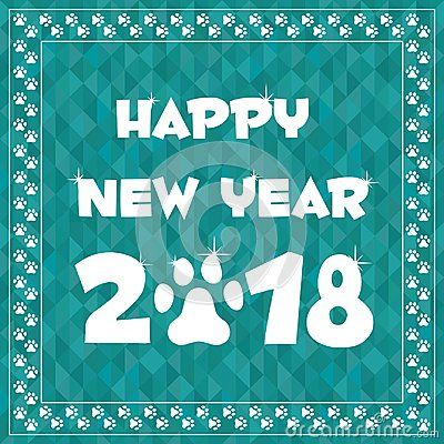 happy new year 2018 font text cyan geometric background in paw border frame sparkling year of the dog greeting card template