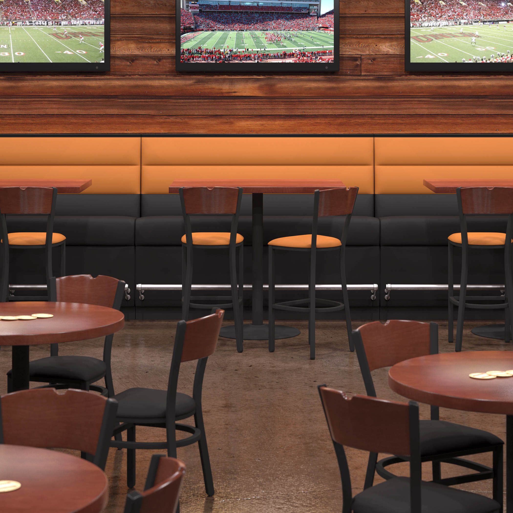 Cafe Banquette Seating: N582 Bar Height Booth Features Brushed