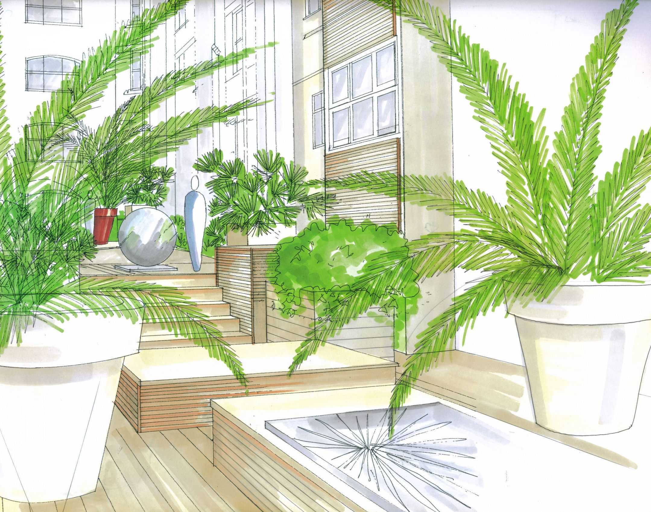 courtyard illustration in copic markers by grozone landscape